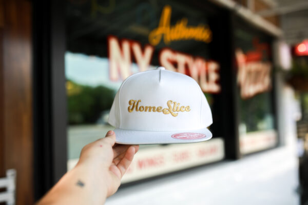 White Hat with Gold Lettering